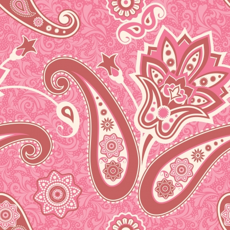 Floral seamless pattern in pink flowers and paisley Vector