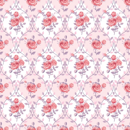 Pink wallpaper with blooming roses Vector