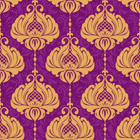 Vintage damask ornamental seamless pattern