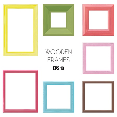 Wooden frames color set Vector