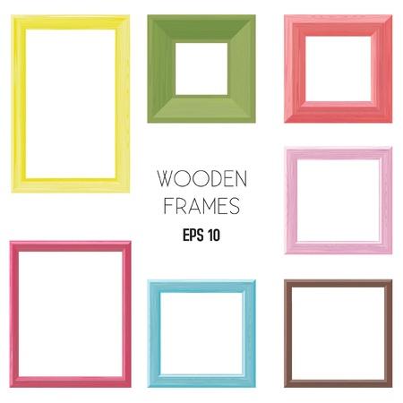 picture frame on wall: Wooden frames color set