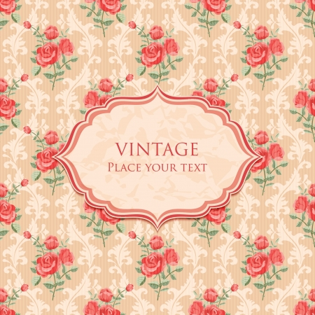 Background with roses retro style invitation template Vector
