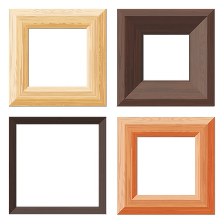 Set of isolated wooden frames Vector