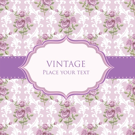 Vintage background invitation card template with roses Vectores