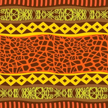african culture: Primitive ornament seamless pattern Illustration