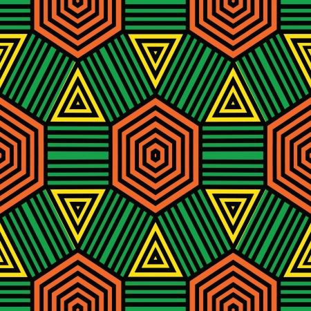 Primitive style geometric ornamental seamless pattern