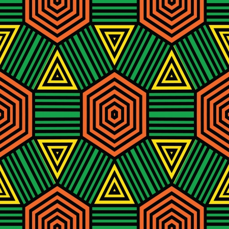 african fabric: Primitive style geometric ornamental seamless pattern