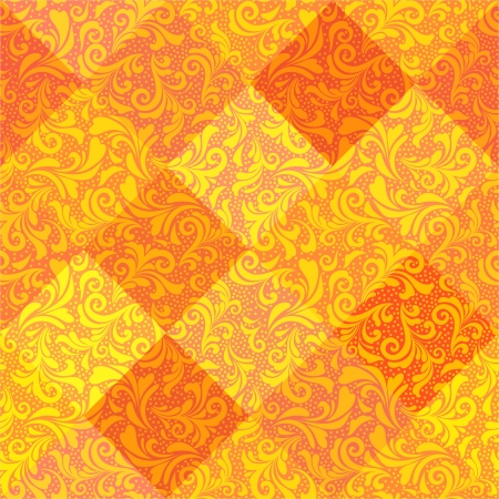 Curls and diamonds orange pattern Vector