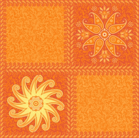 Ethnic exotic ornamental orange seamless pattern Vector