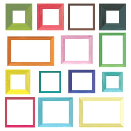 painted wood: Set of colorful wooden frames