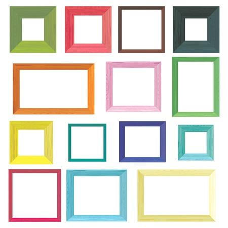 frame photo: Set of colorful wooden frames