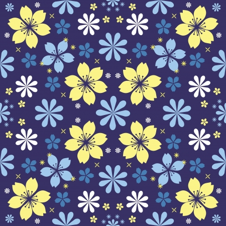 Night flowers seamless pattern Stock Vector - 19844296