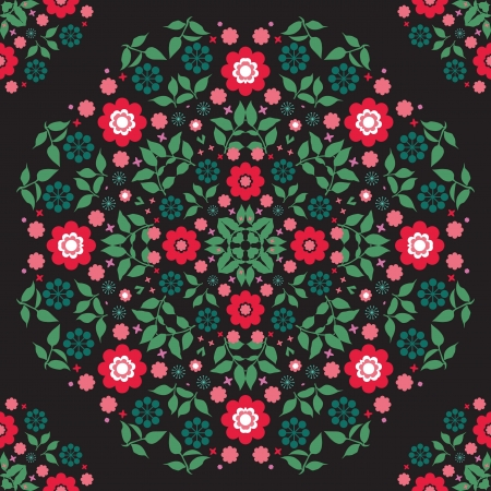 Flowers at black background seamless pattern Stock Vector - 20233594