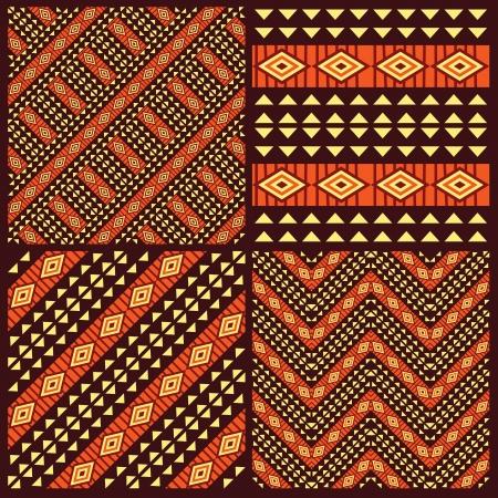 アフリカ部族のシームレスなパターンのセット