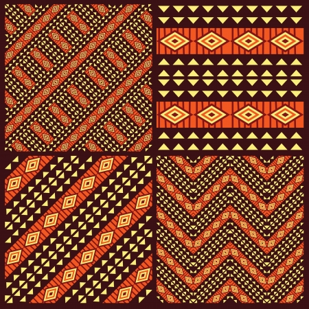 african art: Set of tribal african seamless patterns Illustration