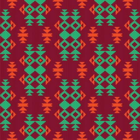 ikat: Ethnic textile seamless pattern Illustration