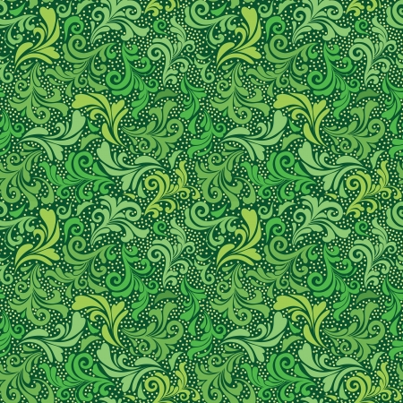 Green seamless abstract floral pattern