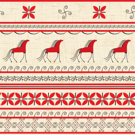 Folk ornamental pattern with horse Vector