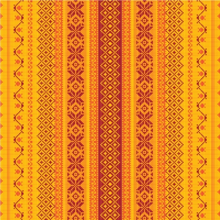 Embroidered textile ornamental seamless pattern Vector