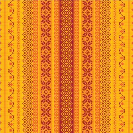 Embroidered textile ornamental seamless pattern Illustration