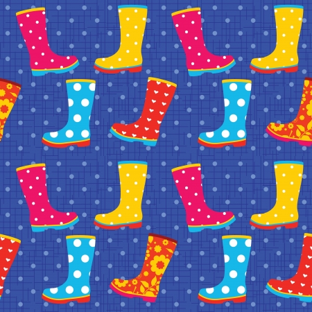 Seamless pattern with colorful rubber boots Vector