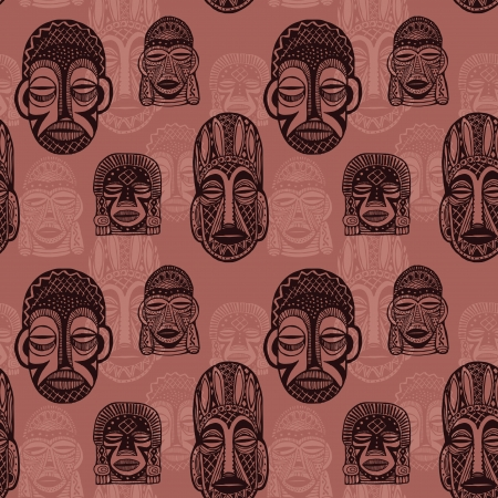 african tribe: African masks seamless background