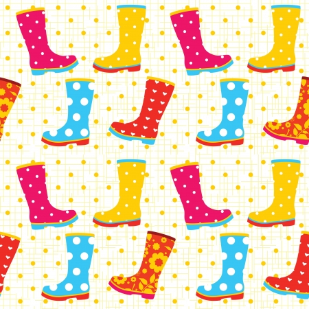 Colorful rubber boots seamless pattern Vector