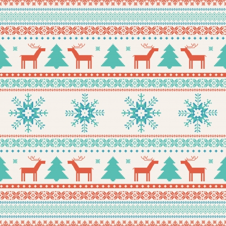 Christmas traditional knitted seamless ornament Vector