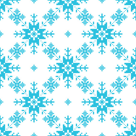 Traditional knitted pattern of snowflackes Christmas background Vector