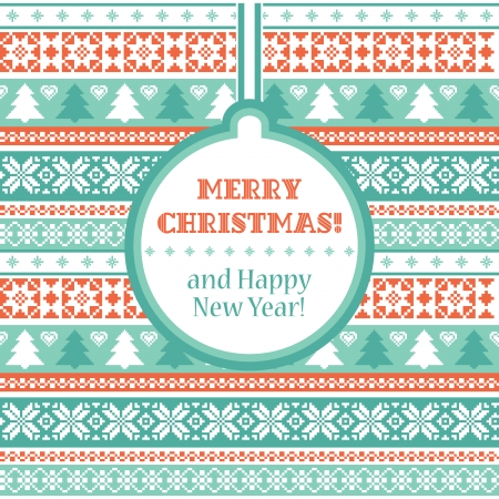 isle: Christmas card with traditional ornaments