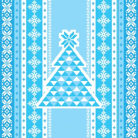 isle: Decorative card with christmas tree in blue