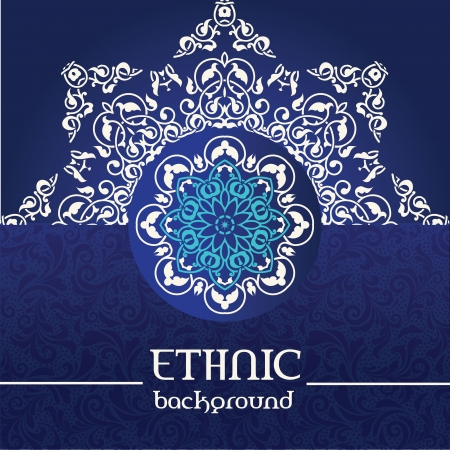 Ornamental snowflake background for design in ethnic style Vector