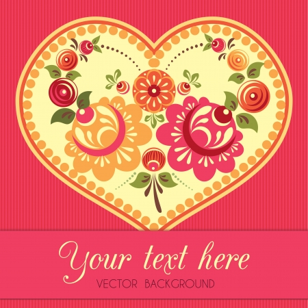Flower greeting card with heart in folk style Vector
