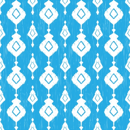 Blue ikat seamless pattern Vector