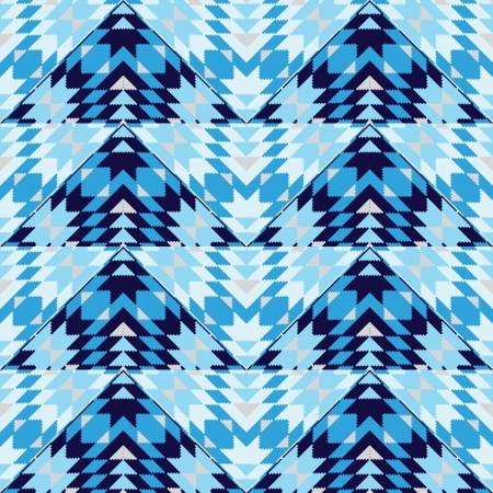 wigwam: Blue geometric seamless pattern Illustration