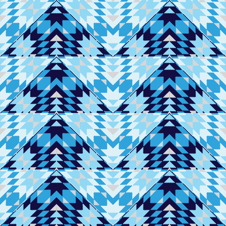 wigwam: Blue geometric seamless pattern Illustration