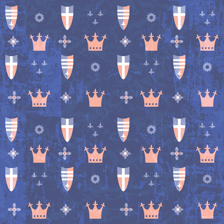 grunge pattern: Kids royal blue grunge pattern with crowns and shields