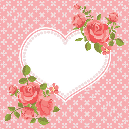rose frame: Retro card with roses