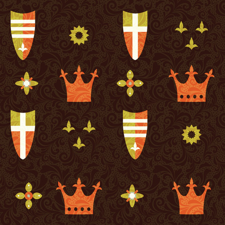 queen crown: Seamless pattern with crowns and shields