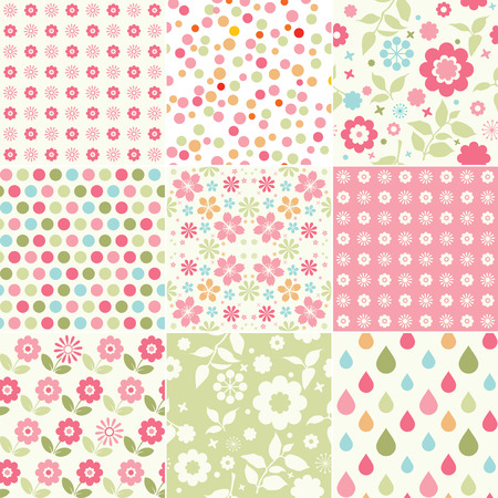 Collection of baby girl seamless patterns Vector