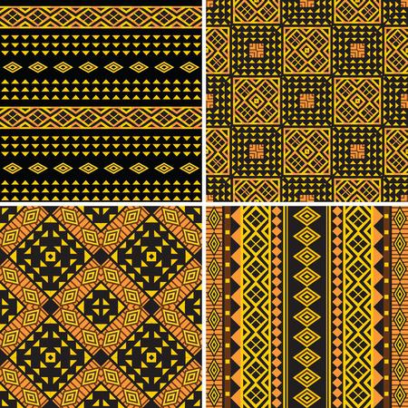 Set of tribal ornamental seamless patterns Illustration