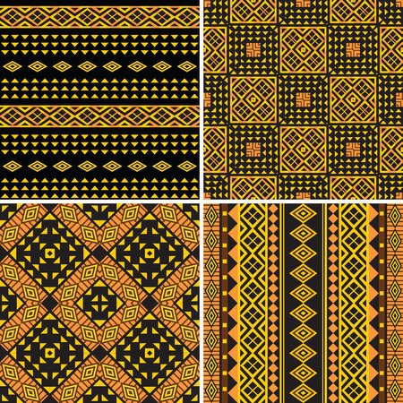 Set of tribal ornamental seamless patterns Ilustracja
