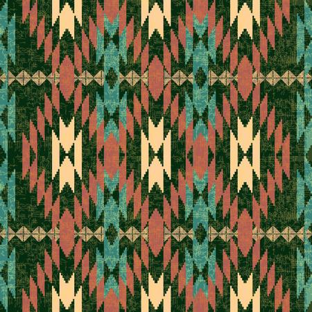 Folk geometric textile seamless pattern Vector