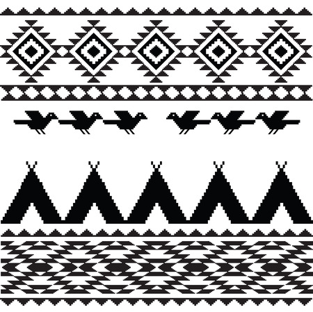wigwam: American indian ethnic geometric seamless pattern in black and white Illustration