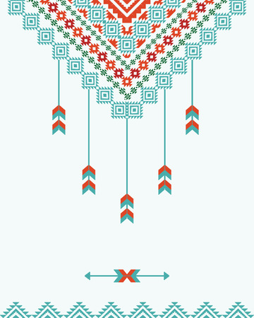 American indian ornamental background with dreamcatcher Illustration