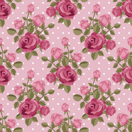 Pink rose wallpaper seamless pattern Ilustracja