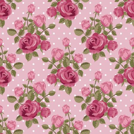 Pink rose wallpaper seamless pattern Vectores