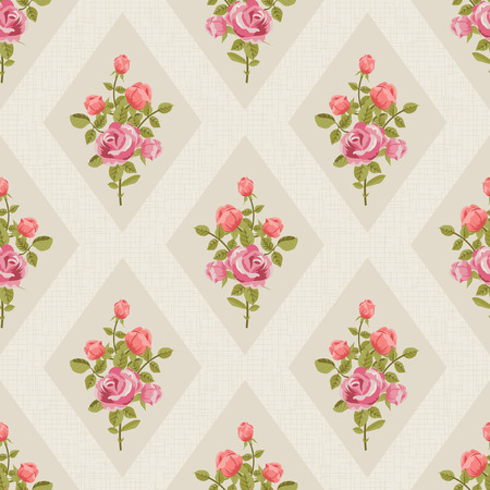 chabby: Retro seamless wallpaper with red roses Illustration