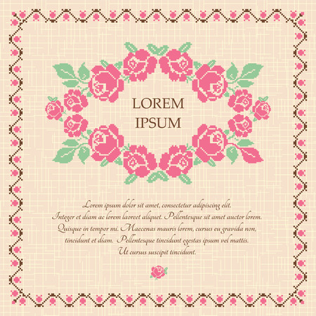 embroidery designs: Embroidered background with pink roses