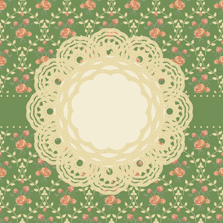 chabby: Retro background with crochet lace